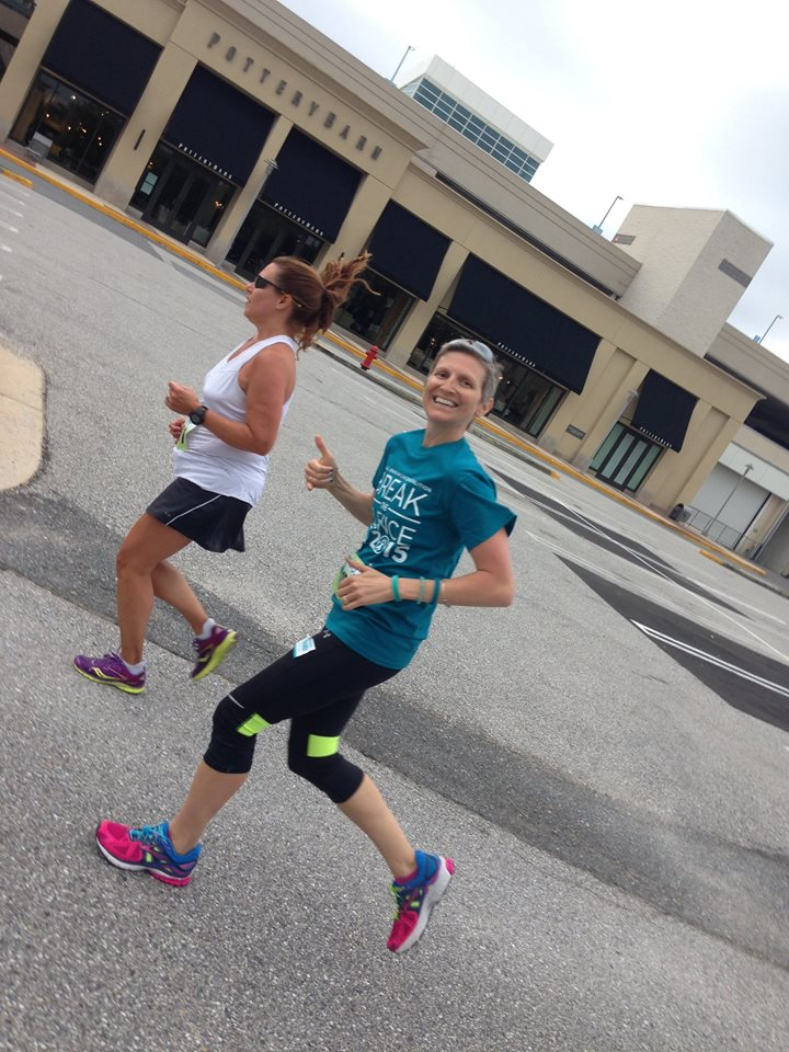Stef and Colleen running NOCC 5k