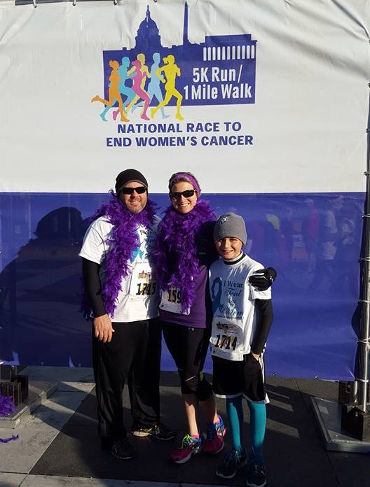 Stef, Bob and Owen at National Race to End Women's Cancer